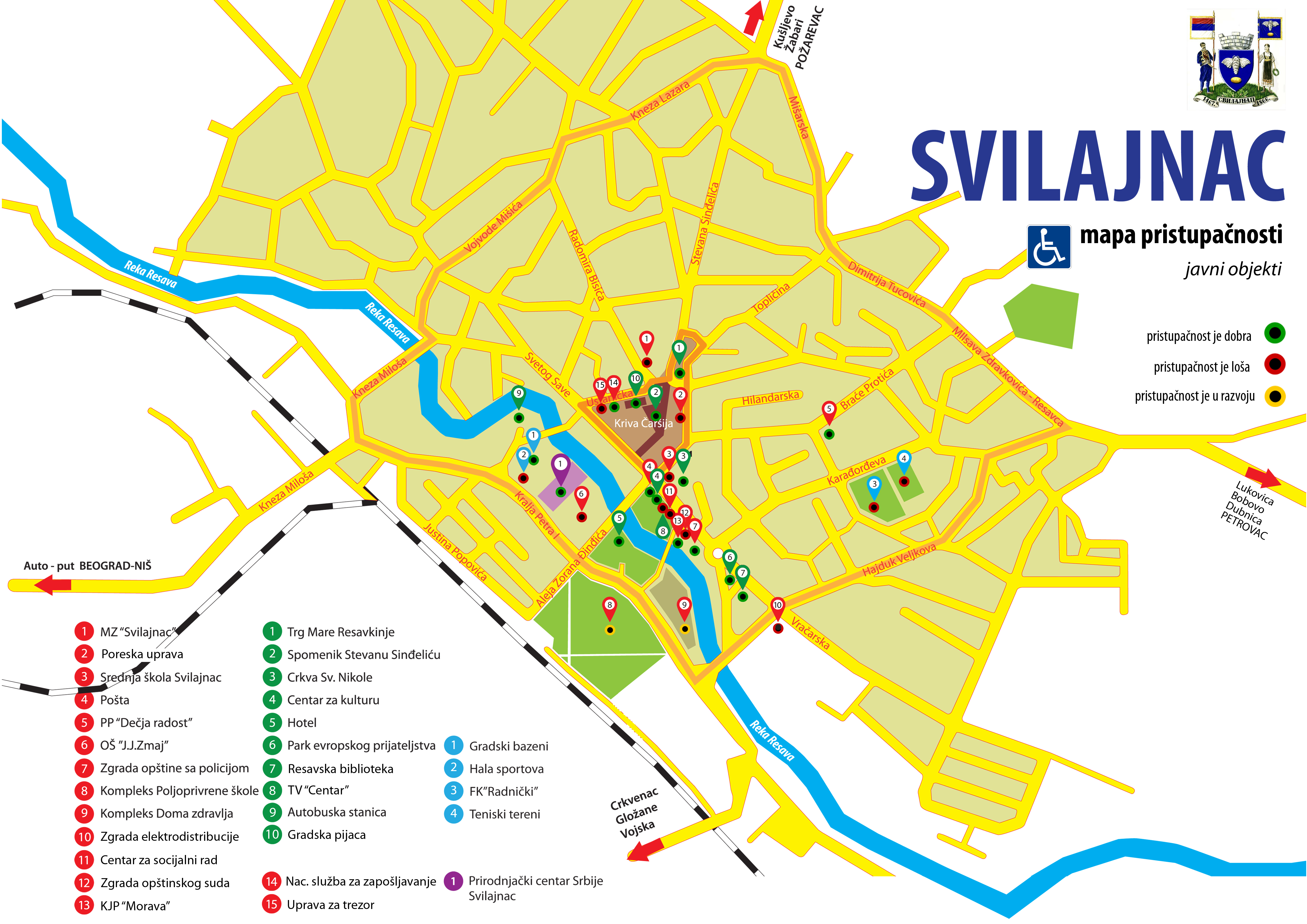 mapa srbije svilajnac Mape pristupačnosti za osobe sa invaliditetom | Opština Svilajnac mapa srbije svilajnac